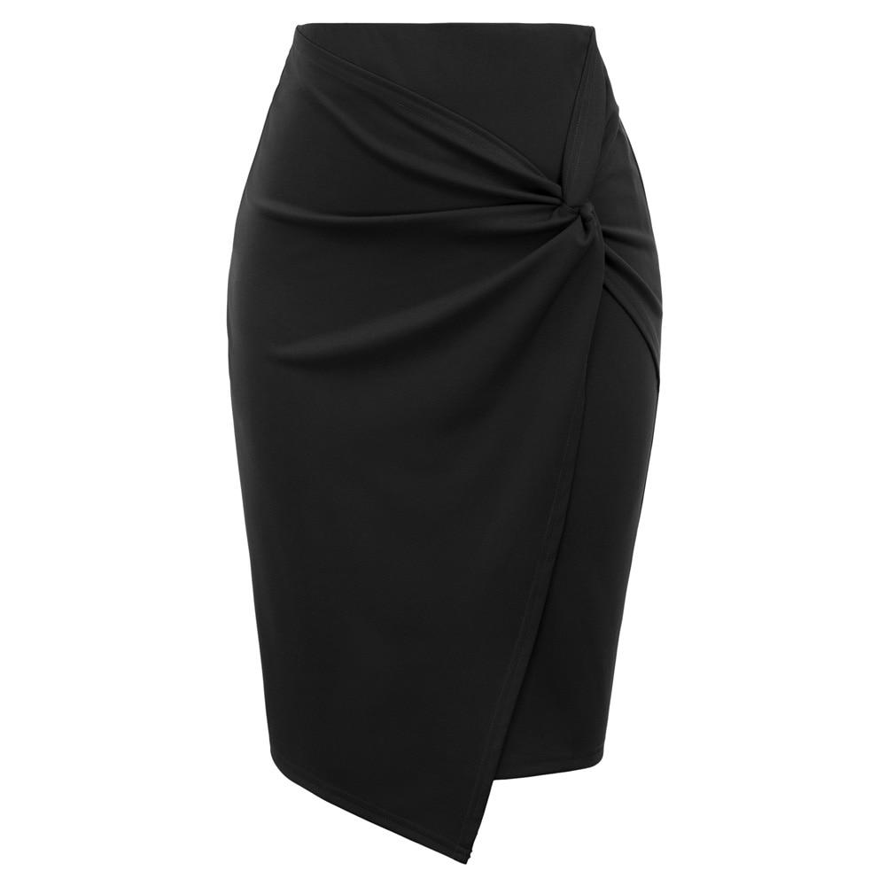 KK Womens Business Skirt Asymmetrical Wrap Front Stretchy Bodycon Pencil Skirts Ladies Elastic High Waist Wear To Work Skirt