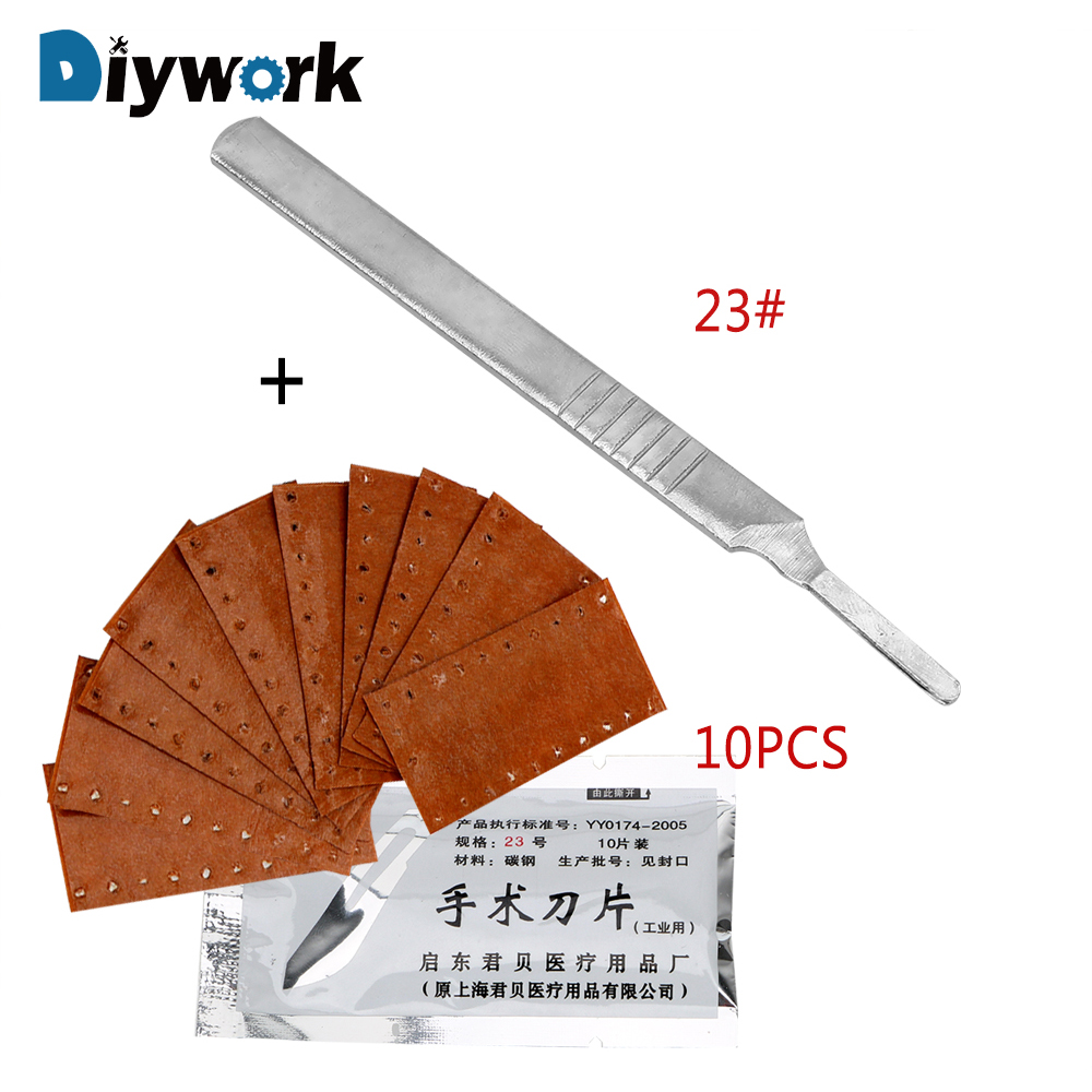 DIYWORK 10 Pieces Scalpel Surgical Blades with 1 Pieces Handle Carving Knife Stainless Steel For PCB Circuit Board 23# 11#  DIYWORK 10 Pieces Scalpel Surgical Blades with 1 Pieces Handle Carving Knife Stainless Steel For PCB Circuit Board 23# 11#