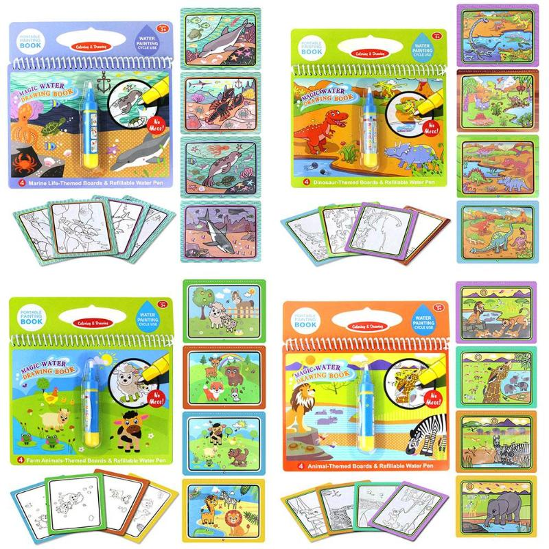 Reusable Coloring Magic Water Drawing Book Set Coloring Book With Magic Pen Education Painting Board For Kids Toys Toy