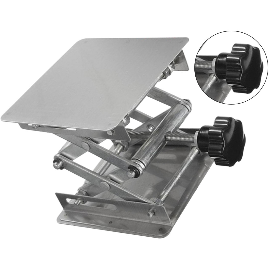 Stainless Steel Router Lift Table Woodworking Engraving Lab Lifting Stand Rack Lift Platform 100x100mm