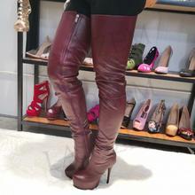 fe25c70eb3 LAIGZEM de las mujeres de la moda por encima de la rodilla botas de  plataforma de