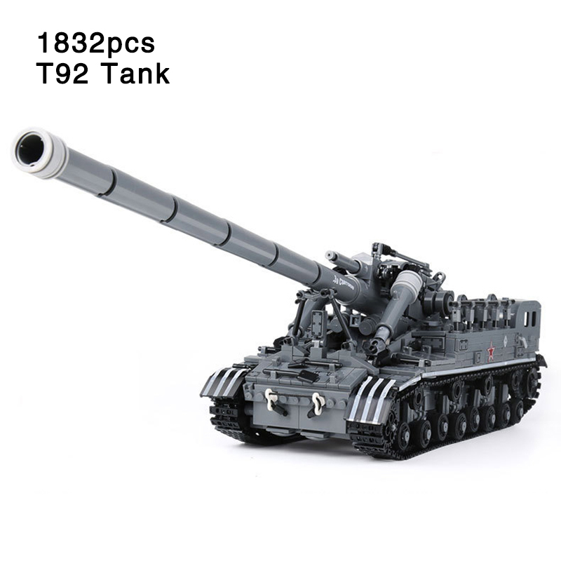 Compatible legoinglys Tank Military War Series Model T92 Army Tank Track Vehicle with Soldier Figures Building Blocks Bricks Toy