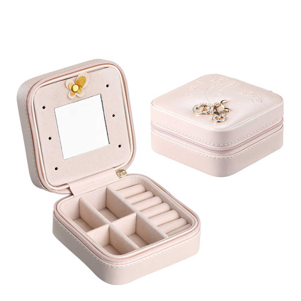 Bolsa de maquiagem Caso Organizador De Armazenamento Pequena Caixa De Jóias de Viagem Portátil com Espelho para Anéis Brinco Colares acessórios de maquiagem