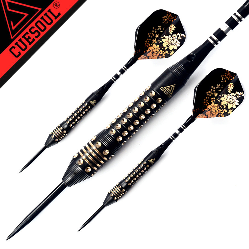 New CUESOUL 3PCS Professional Steel Tip Darts 22g With Laser Dart Flights Black Color cuesoul christmas gift black scorpion 22g 24g 26g blue tungsten steel tip dart