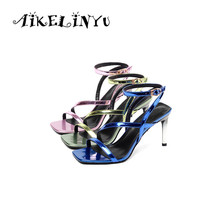 AIKELINYU Fashion Sexy Women High Heel Sandals Summer Girls Army Green High Heels Shoes Woman Party Wedding Shoes Heel Height 20cm neon green heels sexy women sexy clubbing dance shoes platforms shoes 8 inch high heel shoes star exotic shoes