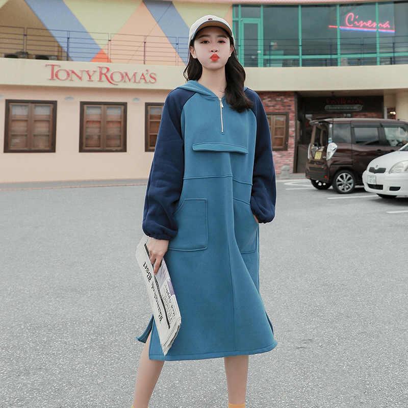 LANMREM 2019 весеннее Новое корейское свободное платье контрастного цвета в стиле пэтчворк, лидер продаж, женское платье-толстовка с капюшоном, Vestido YG518