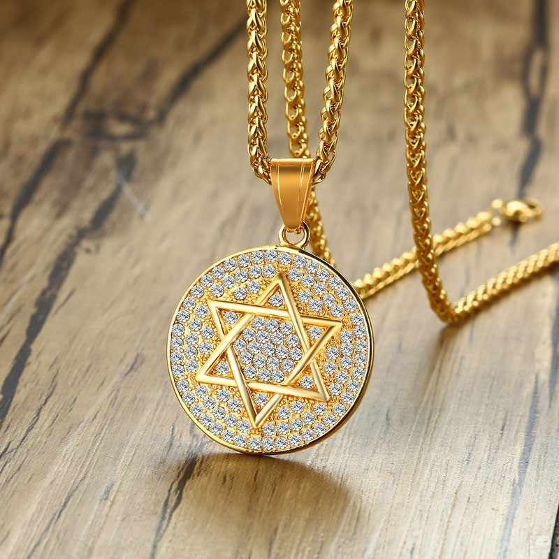 Vnox Mens Star of David  Necklace Shiny CZ Stone Round Pendant Statement Male Collar Free Chain 24""