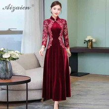 2019 New Velvet Embroidery Cheongsam Deep Red Long QiPao  Orientale Vestido Women Chinese Traditional Dress Qi Pao Party Dresses