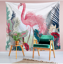 Bohemian Style Wall Tapestry Macrame Wall Hanging Pink Flamingo Floral Tropical Leaves Printed Hippie Home Boho Decor Wall Cloth home decor flamingo wall tapestry
