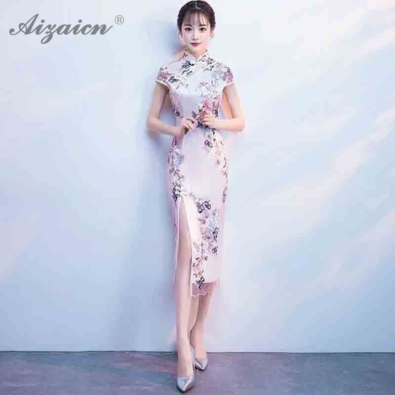 Traditional & Cultural Wear 2018 New High Fashion Red/pink Chiffon Cheongsam Aodai Chinese Classic Womens Qipao Elegant Short Sleeve Novelty Long Dress
