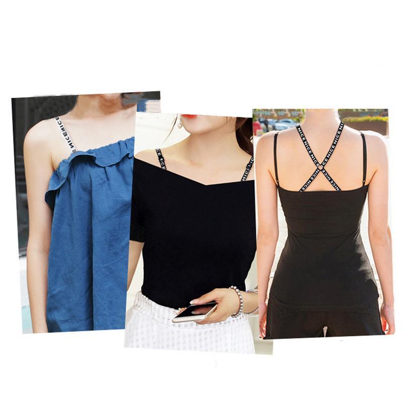 Women Straps O-shaped Cross Shoulder Strap For Underwear Halter Non-Slip Shoulder Strap Print Letter For Bra