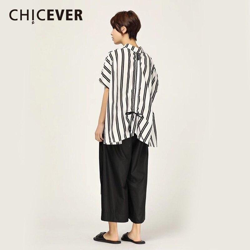Chicever Summer Women Print Shirt Lapel Three Quarter Sleeve Button Open Stich Loose Slim Long Female Top Blouse 2019 Fashion Women's Clothing