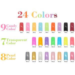 Kimcci 500 pcs/lot 24 Candy Colors French False Nail Tips Rainbow color Artificial Fake Nail Art Beauty Manicure Makeup Tools