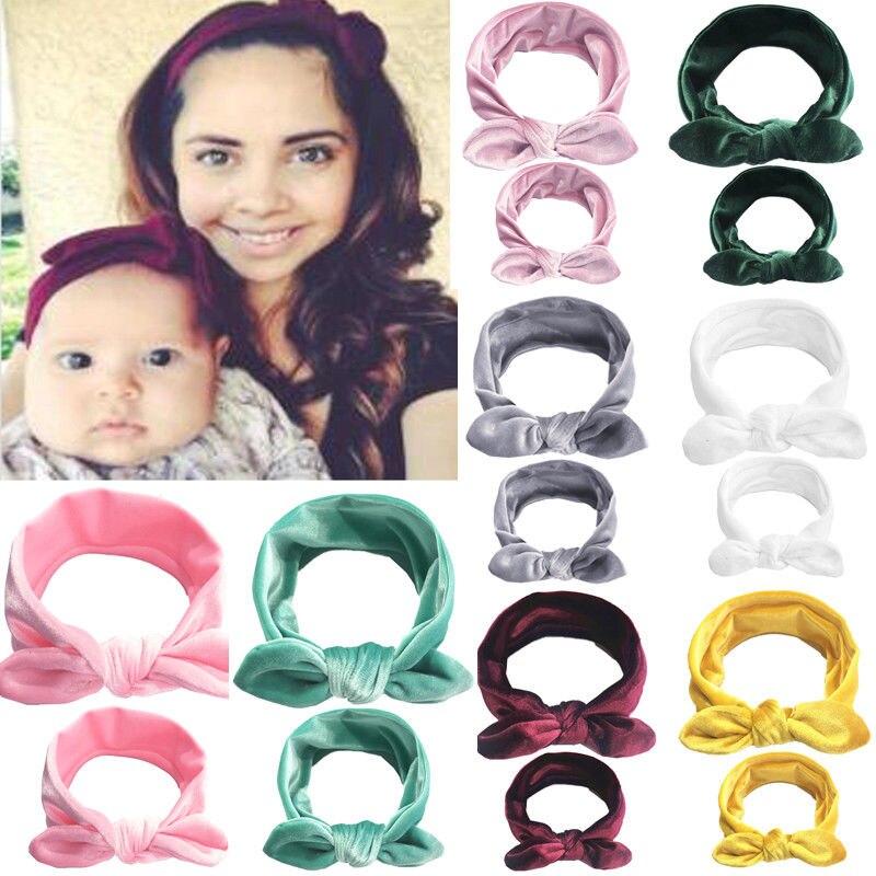 SchöN Marke Neue 2 Pcs Mom Kinder Baby Mutter Tochter Frauen Feste Elastische Bogen Verknotet Stirnband Headwear Heißer Anzug Up-To-Date-Styling