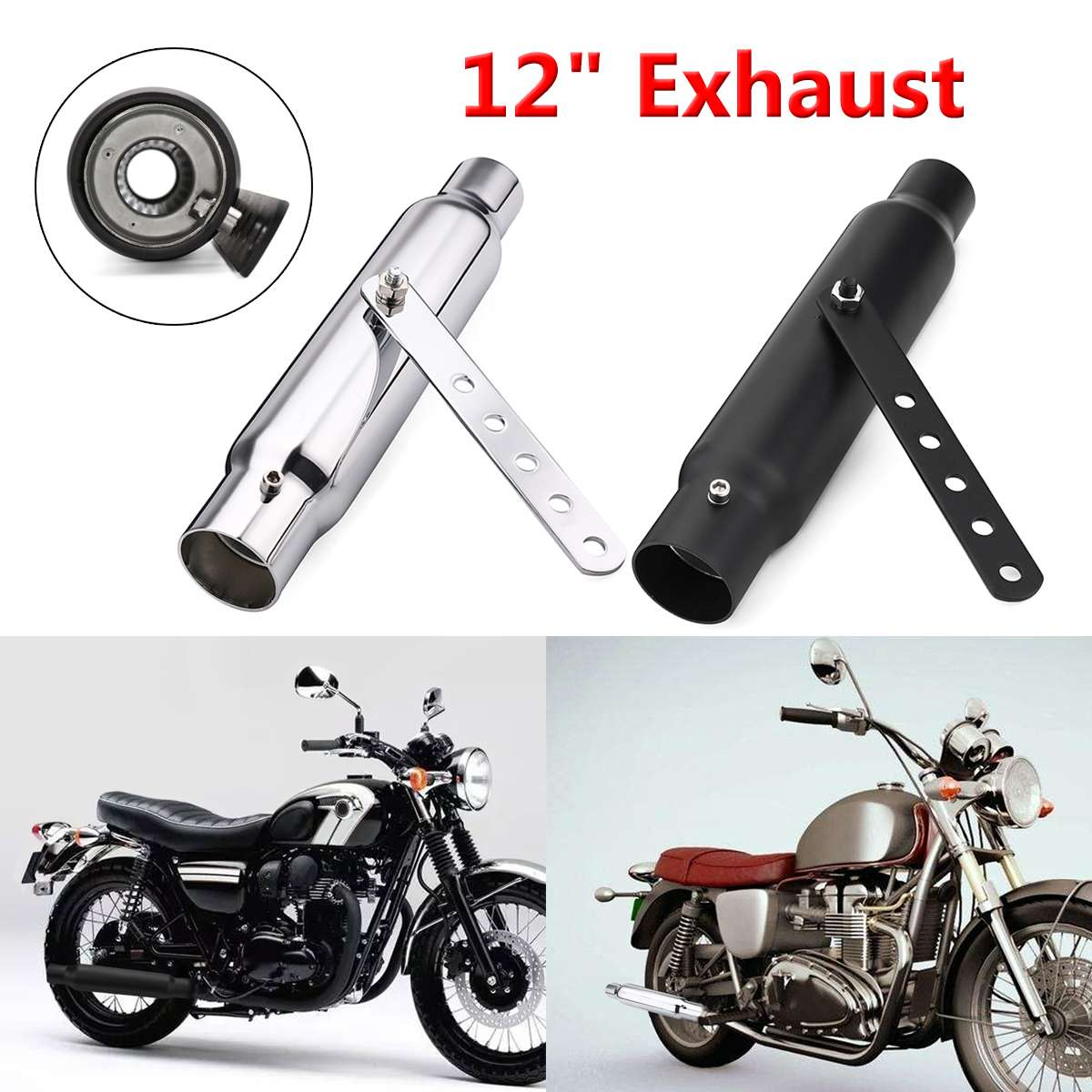 Universal 12 Motorcycle Exhaust Pipe Short Exhaust Tip Rear Tail Tube For Harley Custom Cafe Racers