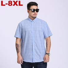 New Large plus Size 5xl  6xl  7xl  8xl Plaid Full Cotton Thin Short Sleeve Men Shirt Casual Business Formal Fat People Clothing