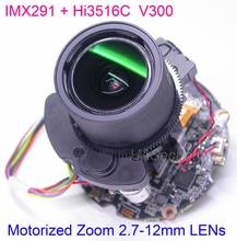 "H.265 H.264 gemotoriseerde 2.7 12mm Zoom & Autofocus LENs 1/2. 8 ""SONY STARVIS IMX291 CMOS Hi3516C CCTV IP camera PCB board module"