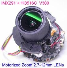 "H.265 H.264 motorlu 2.7 12mm Zoom ve Otomatik odak lensi/1/2 ""SONY STARVIS IMX291 CMOS Hi3516C CCTV IP kamera PCB devre kartı modülü"