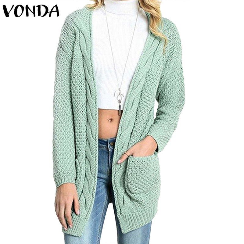 VONDA Women Sweater 2018 Autumn Winter Outerwear Causal Loose Knitted Coats Long Sleeve V Neck Sweaters Pockets Baggy Cardigan