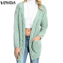 041deecfd VONDA Women Sweater 2018 Autumn Winter Outerwear Causal Loose Knitted Coats  Long Sleeve V Neck Sweaters