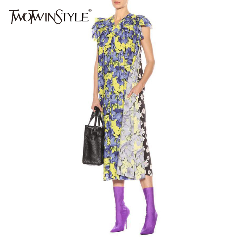 TWOTWINSTYLE Printed Sleeveless Dress Female V Neck Ruffles Patchwork Midi Midi Dresses Women Casual Clothes Spring