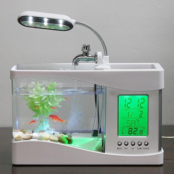 Mini LCD USB lampe de bureau de Réservoir De Poissons De Lumière LED pour aquarium Horloge