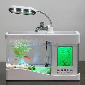 Mini USB LCD Desktop Lamp Light Fish Tank Aquarium LED Clock