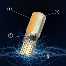 Pcs Laranja T10 2 Largura W5W COB LEVOU Carro Luz Clearance Luz do Flash Strobe Lâmpada de Leitura Auto Iluminação Do Carro de Sílica lâmpada