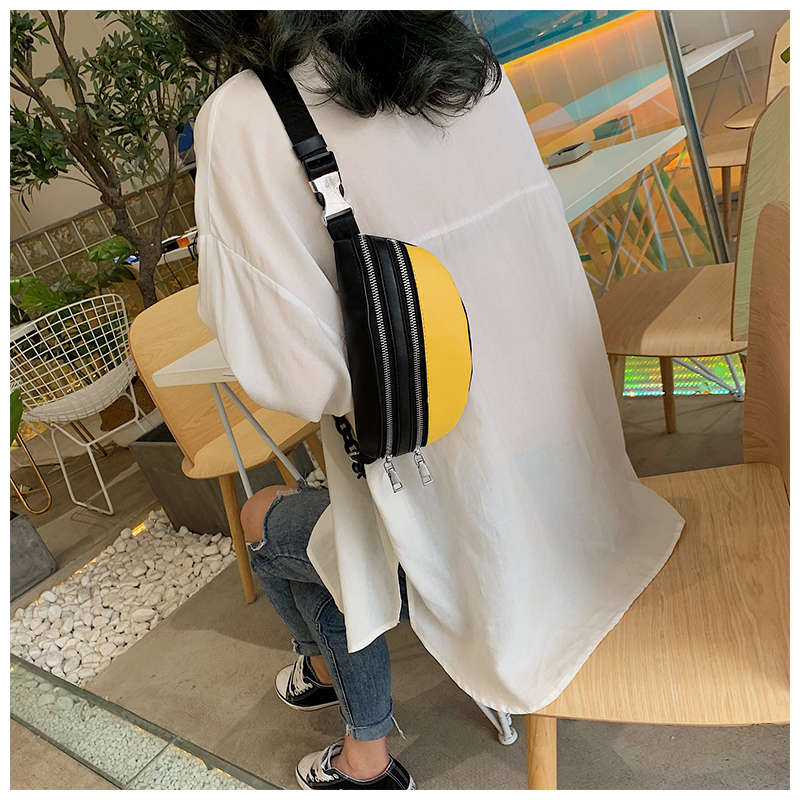 New Bags for Women 2019 Zipper Chest Bag Banquet Shoulder Waist Pack Casual Sports Purse Breast Package Messenger Bag for Girls in Waist Packs from Luggage Bags