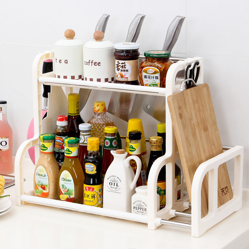 Kitchen Shelf Seasoning Cans Shelf Kitchen Spice Rack Condiment Bottles Pepper Shakers Storage Rack Knife fork holder Organizer image