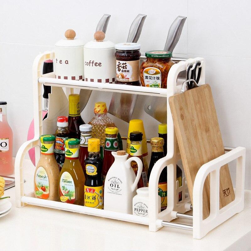 Kitchen Shelf Seasoning Cans Shelf Kitchen Spice Rack Condiment Bottles Pepper Shakers Storage Rack  Knife Fork Holder Organizer