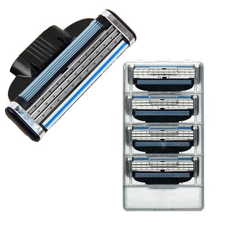 Novo útil 4 pçs/lote 3 camadas lâminas de barbear para homens gile lâminas de barbear beleza proglide lâminas recargas cartucho lâmina