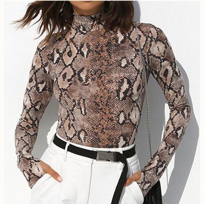 New Fashion 2019 Newest Style Womens Ladies Snake Print Stretch Party Skinny Bodysuit Long Sleeve Body Tops T-shirt S M L Consumers First