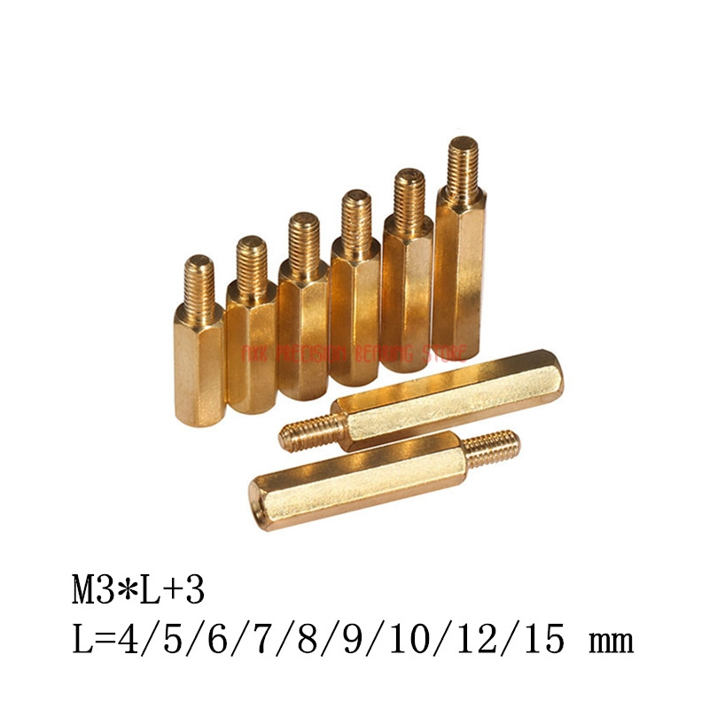 2019 New Arrival Parafusos <font><b>Screws</b></font> Tornillos Para Madera 100pcs/lot <font><b>Brass</b></font> Standoff Spacer M3*l+<font><b>3</b></font> Hex L=4/5/6/7/8/9/10/12/15 <font><b>Mm</b></font> image