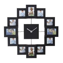 Multi Picture Wall Clock Silver Aluminum Aperture Photo Frame Home Decoration