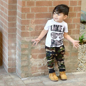 "2 pieces ""Like a boss"" Print T-shirt and Camouflage Pant Set For Toddler Boy Summer Clothes Boys Clothing Sets"