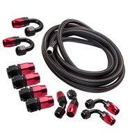 8 an8 aço inoxidável trançado óleo/linha de combustível/mangueira + montagem/extremidade da mangueira/kit adaptador|  -