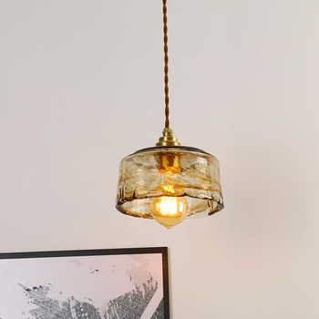 EL Vintage Pendant Lights Trapezoid Square Cylinder three kinds of shape Glass Brass Pendant Lamp Indoor Lightiing