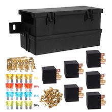 Auto Car Part 6-way 6 Relays w/ Relay Box 12 Blade Fuses Waterproof for cars automotive