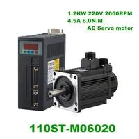 220V 1200W AC Servo motor 1.2KW 2000RPM 6N.M. servomotor Single Phase ac drive permanent magnet Matched Driver 110ST M06020