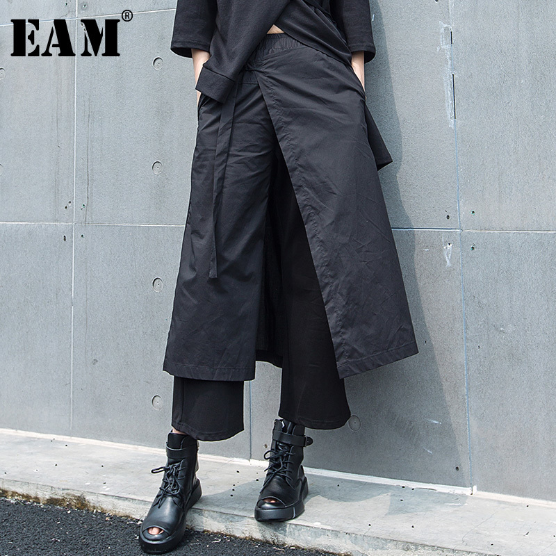 [EAM] 2019 New Spring Summer High Elastic Waist Loose Back False Two Bandage   Wide     Leg     Pants   Women Trousers Fashion Tide JS429