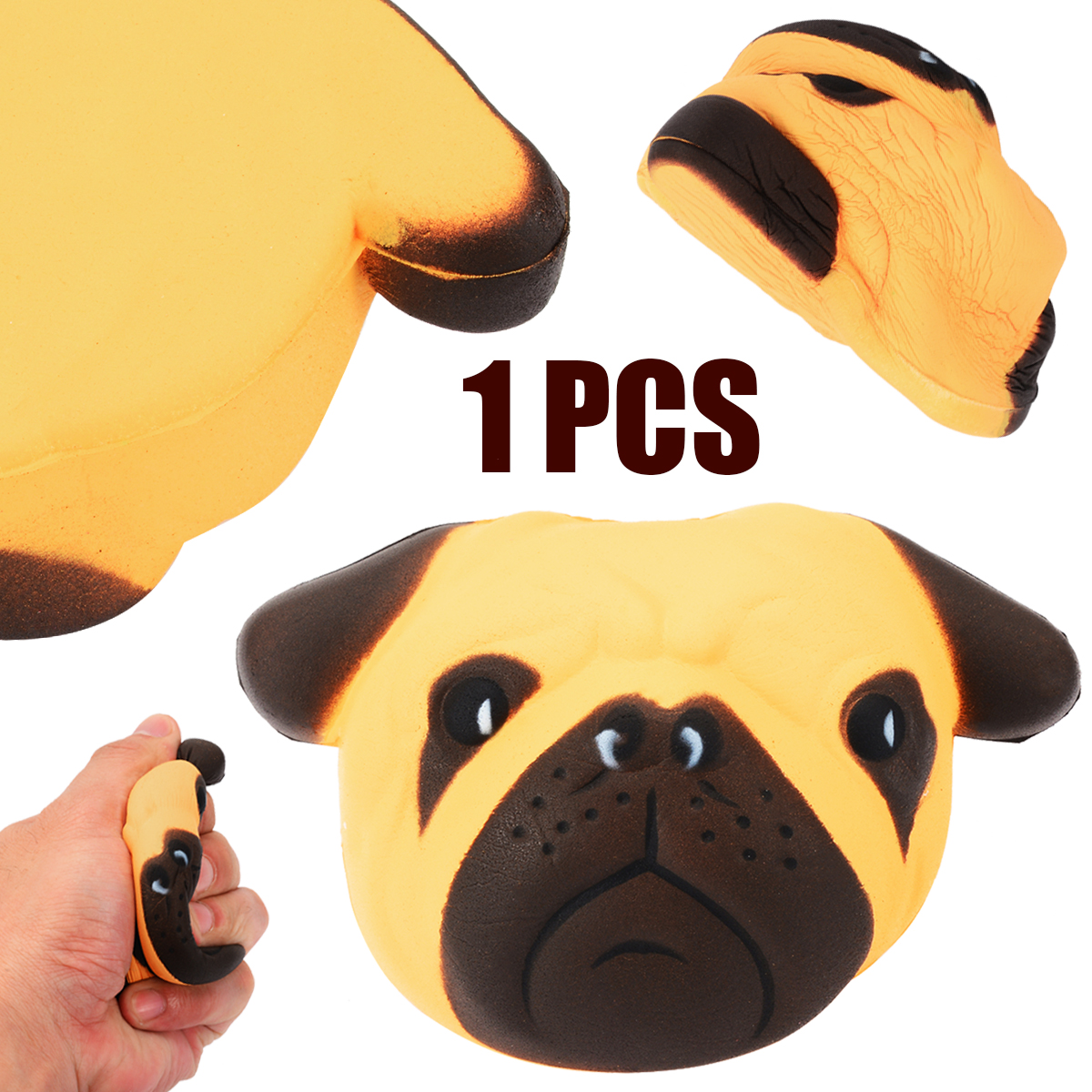 Pug Dog Jumbo Slow Rising Soft Squishy Squishies Anti Stress Kid Toy Gift For Children Fun Antistress Ball Pug Cell Phone Straps Strengthening Waist And Sinews Mobile Phone Straps