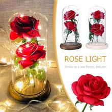 Romantic 20LED Rose Light Ornament Red Flower Desk Lamp Home Decoration Valentine Day Birthday Gift Rose Light Ornament valentine day girlfriends romantic birthday rose soap flower gift box