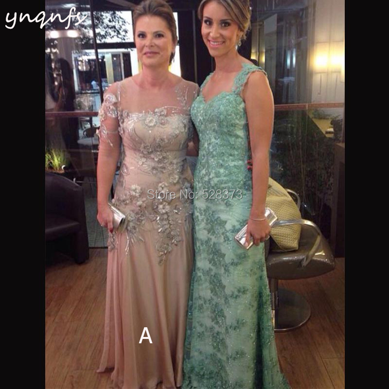 YNQNFS M76 Long 2018 Champagne Mother Of The Bride Dresses Illusion Half Sleeve Chiffon Vestido Galajurk Party Gown