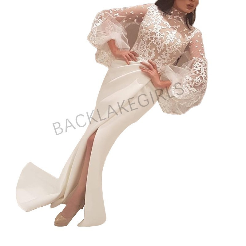 Lace White Ivory Satin Mermaid   Prom     Dresses   High Neck Long Sleeve 2018 Robe De Soiree Custom Made Evening   Dresses   Gown
