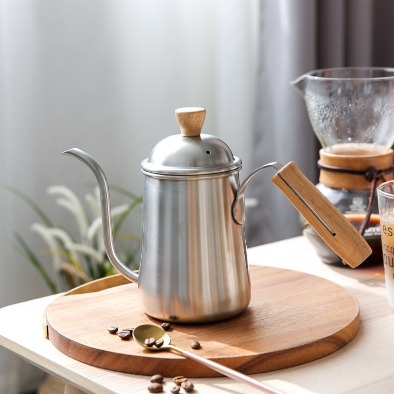 650ml en acier inoxydable cafetière col de cygne bec verseur sur le fabricant poignée en bois Long goutteur bouche bouilloire lait Moka théière