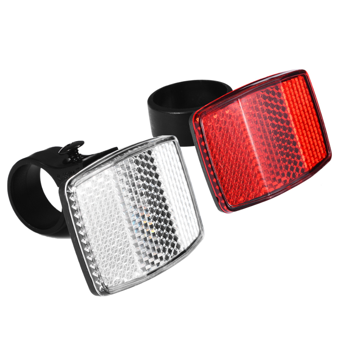 1Pcs Bicycle Front Rear Reflective Lens Bike White Red Handlebar Mount Reflector Cycling Warning Light Safety Night Riding
