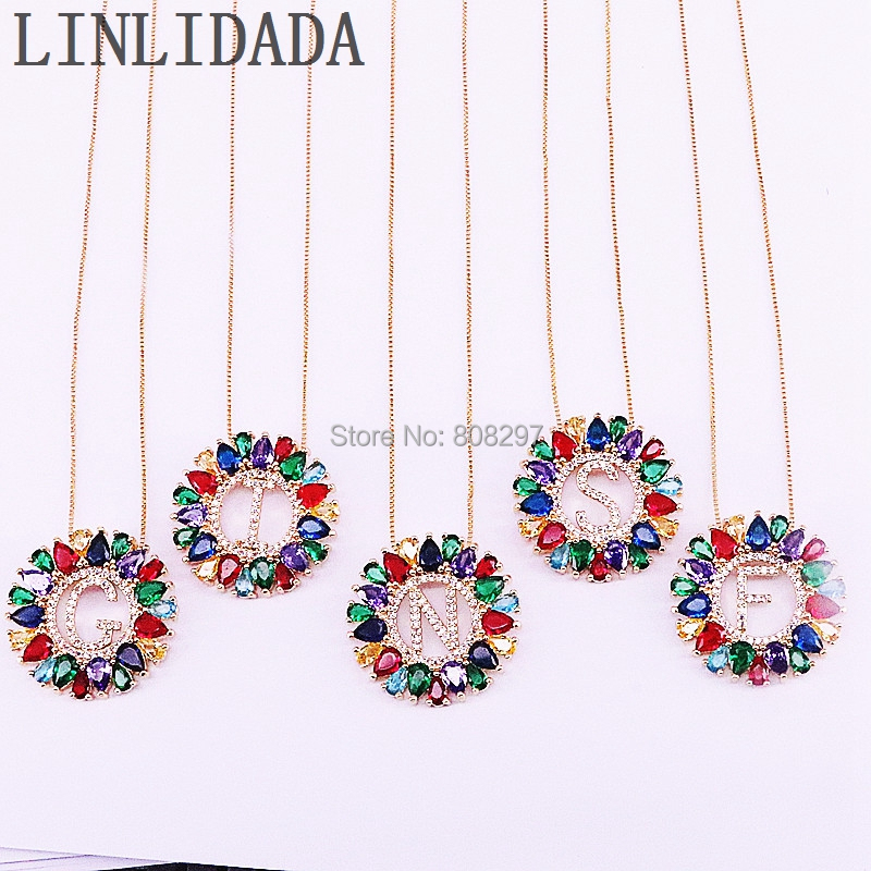 6Pcs 29mm Micro Pave Rainbow Crystal Zircon A Z Letter Alphabet Pendant Necklace for girls and