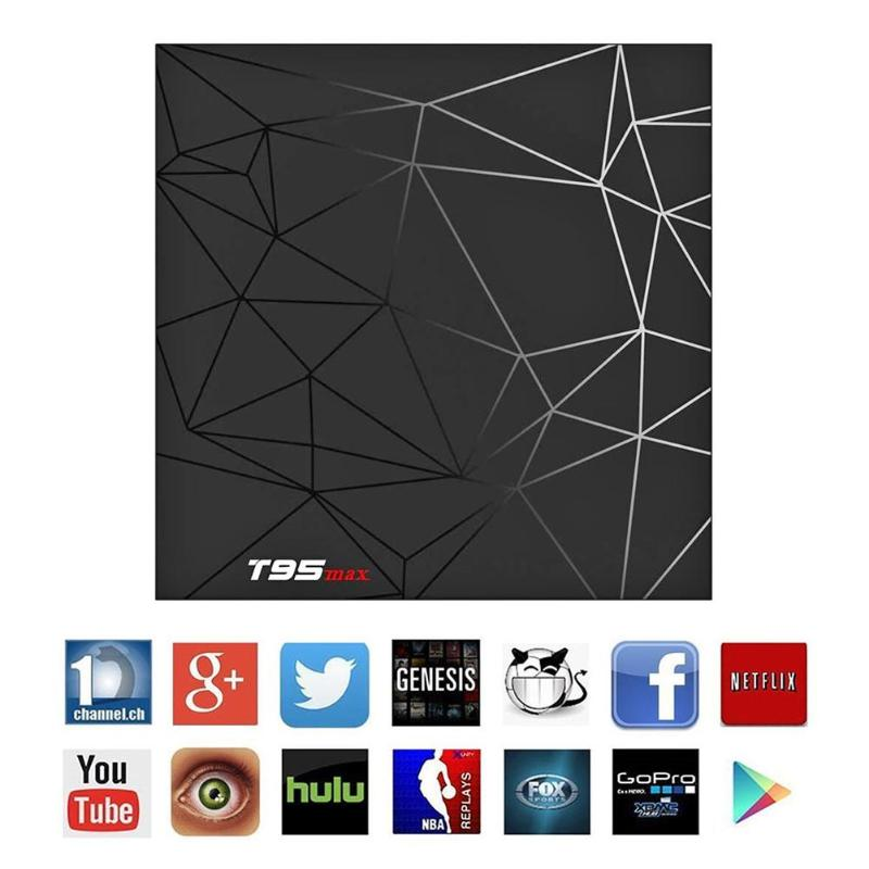 T95 2.4G WIFI Max 6 K Android 8.1 Smart TV Box 2 + 16 GB Quad Core 3D films WIFI médias haute vitesse USB 3.0 Android 8.1 TV BOX chaud