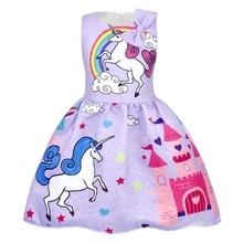 AmzBarley Little Girls Stars Unicorn Rainbow Dress Pageant Pleated Costumes Birthday Party Fancy Dresses